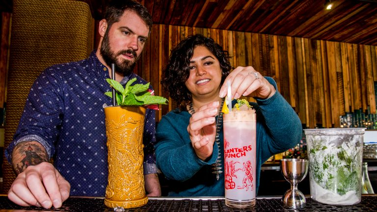 Chris and Anu Elford proudly serving up nautical themed cocktails