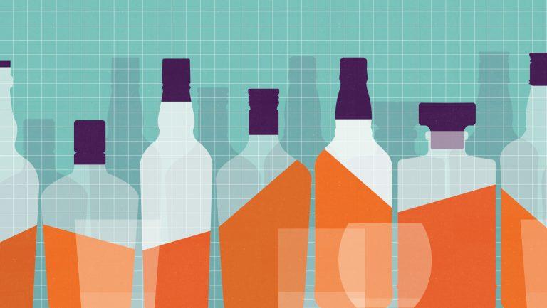 Artwork of whiskey bottles