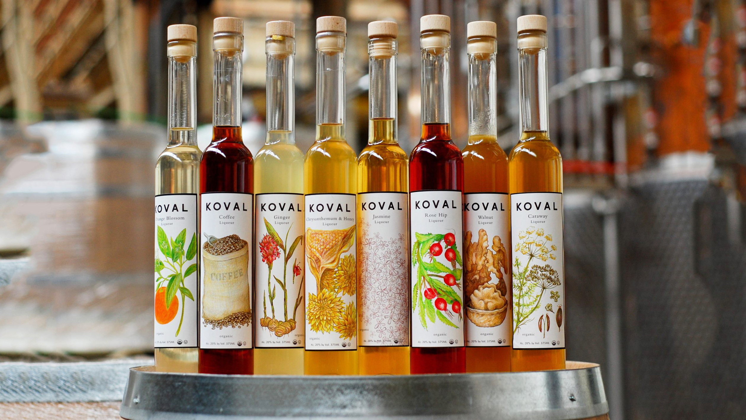 A variety of Koval Whiskey flavors