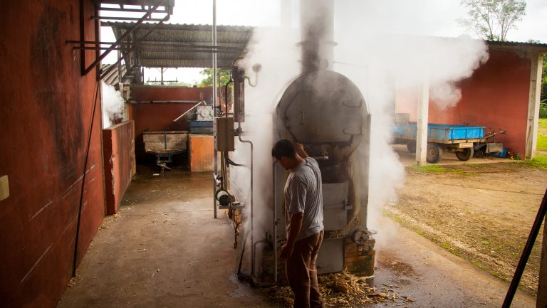Novo Fogo's steam-generating boiler burning leftover sugarcane bugaço