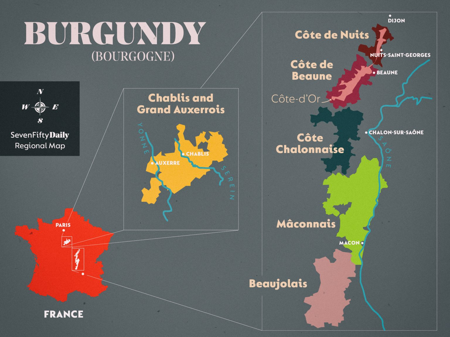 Map of Burgundy, France with highlighted wine regions