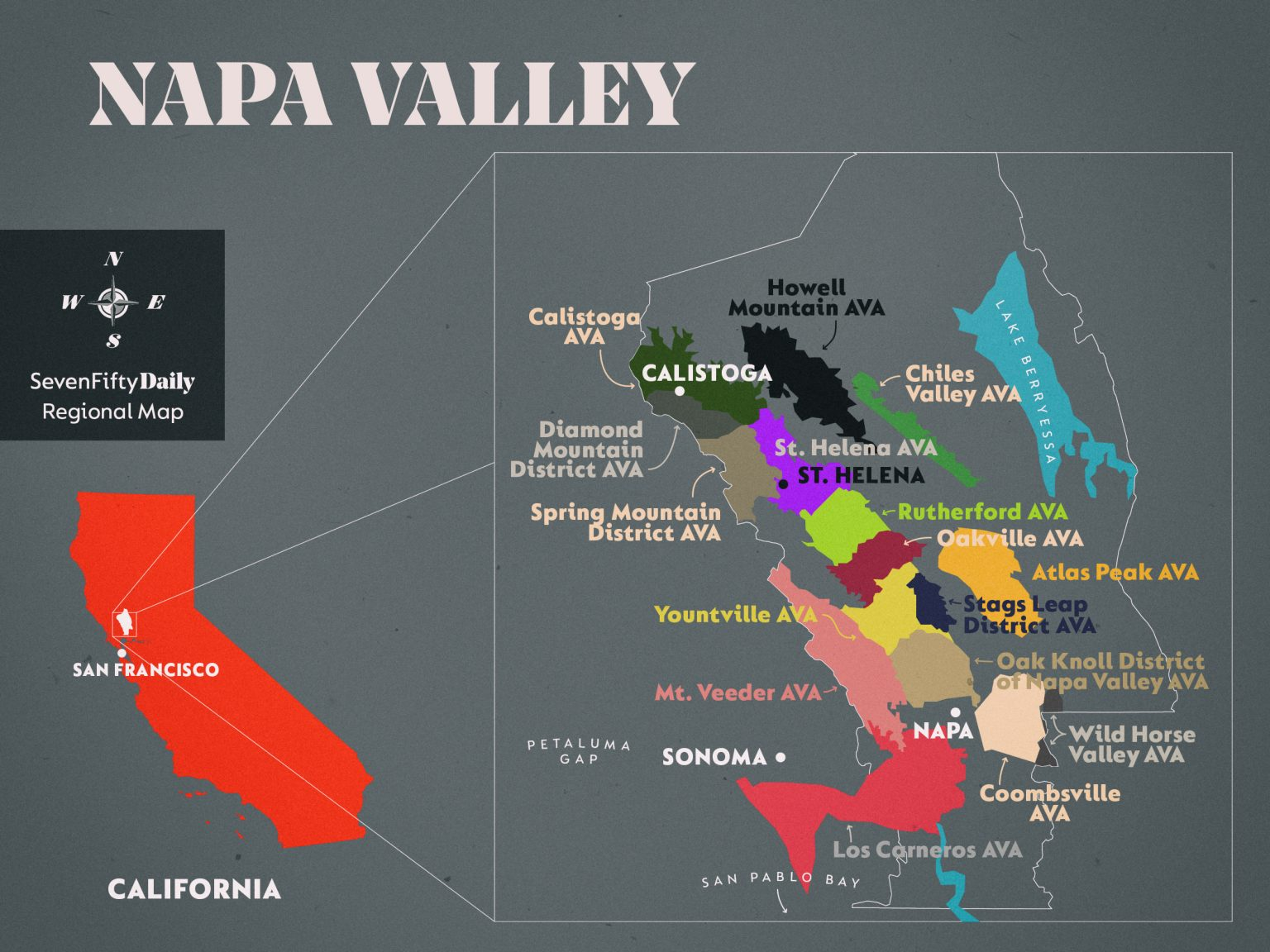 Map of Napa Valley, California with highlighted wine regions