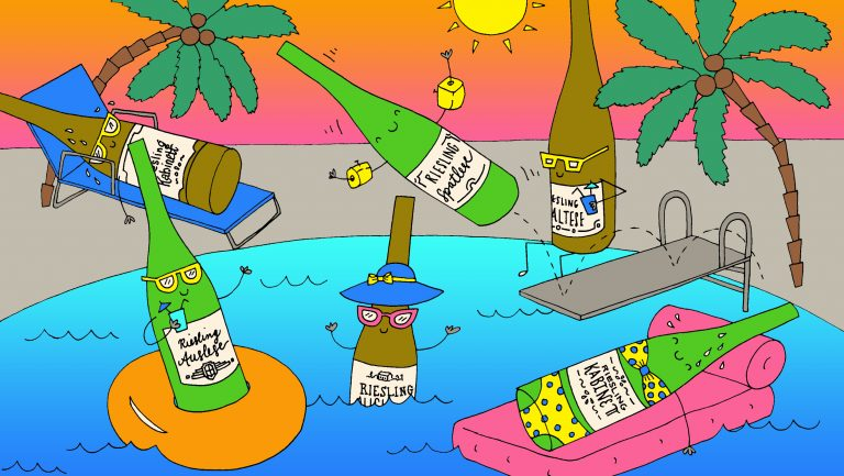 Bottles of riesling swimming in hot weather