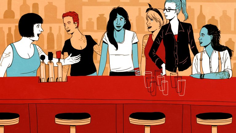 Women talking behind the bar