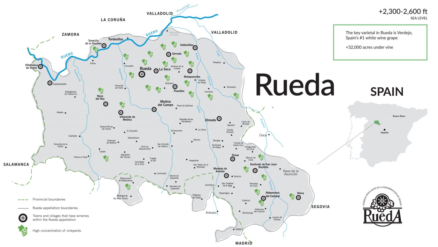 Map of Rueda wine region in Spain