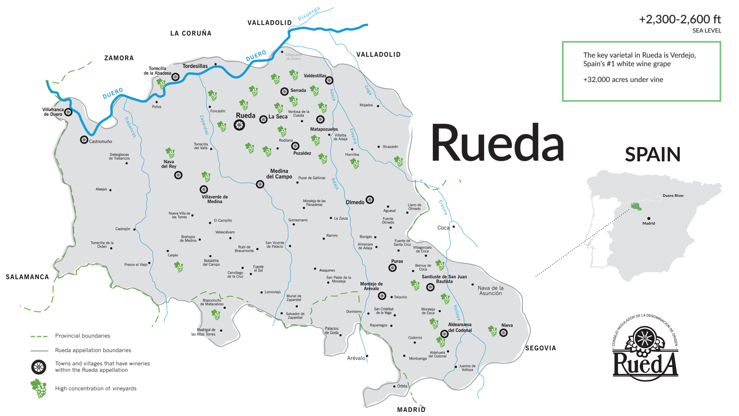 Map Of Spain Vineyards.Rueda Sevenfifty Daily