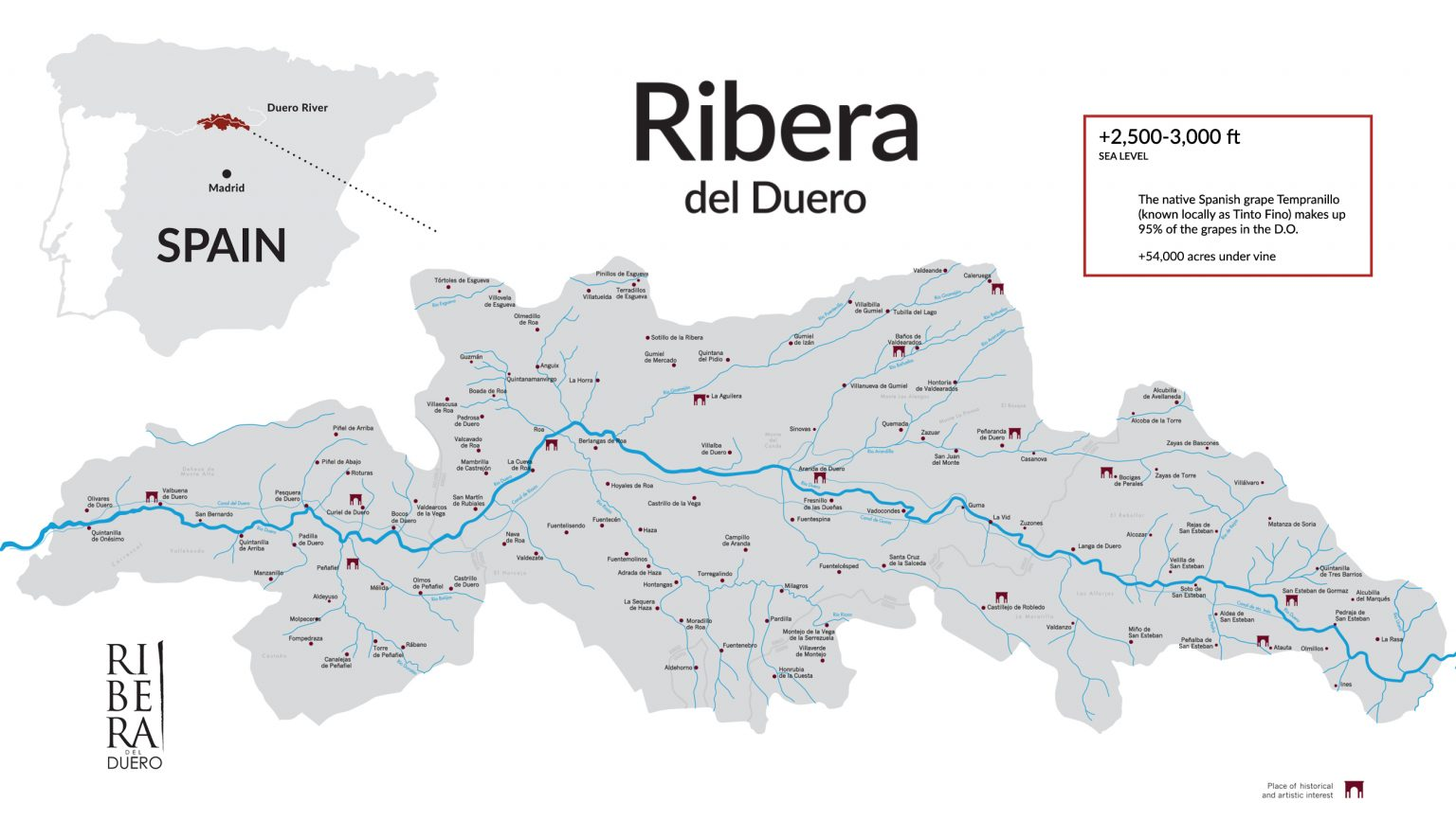 Map of Ribera del Duero wine region in Spain