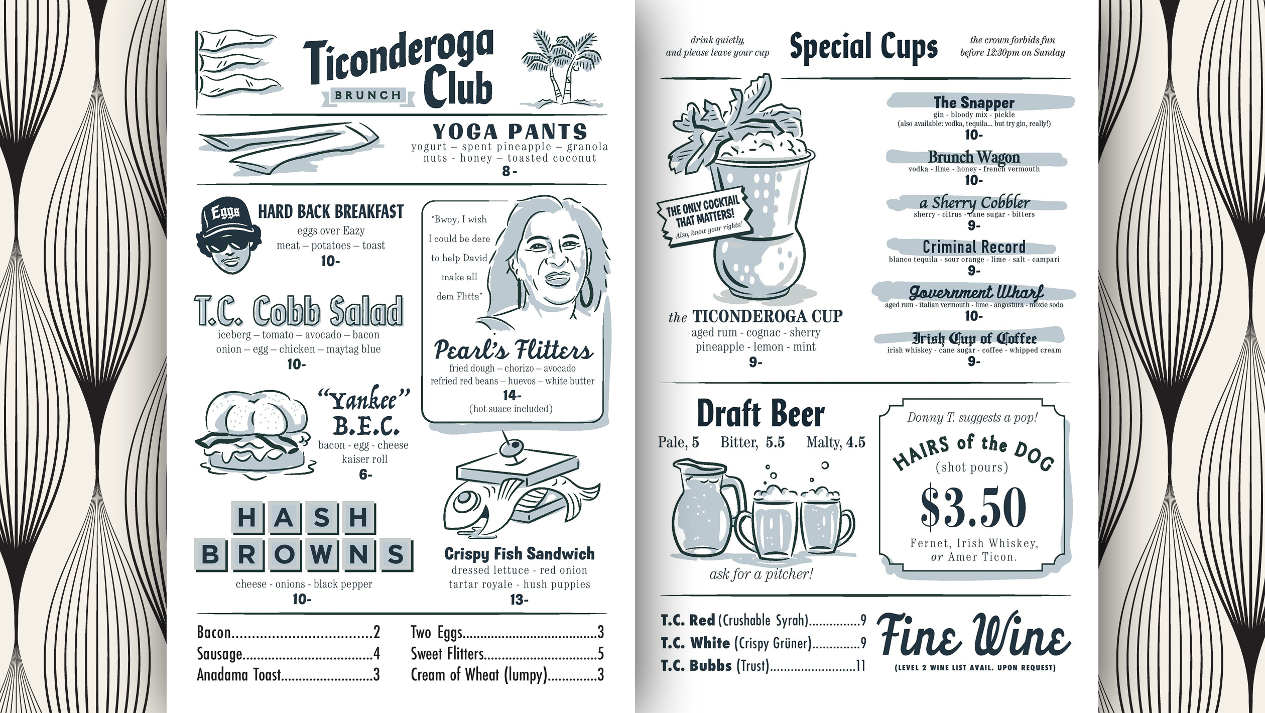 Ticonderoga Club Menu