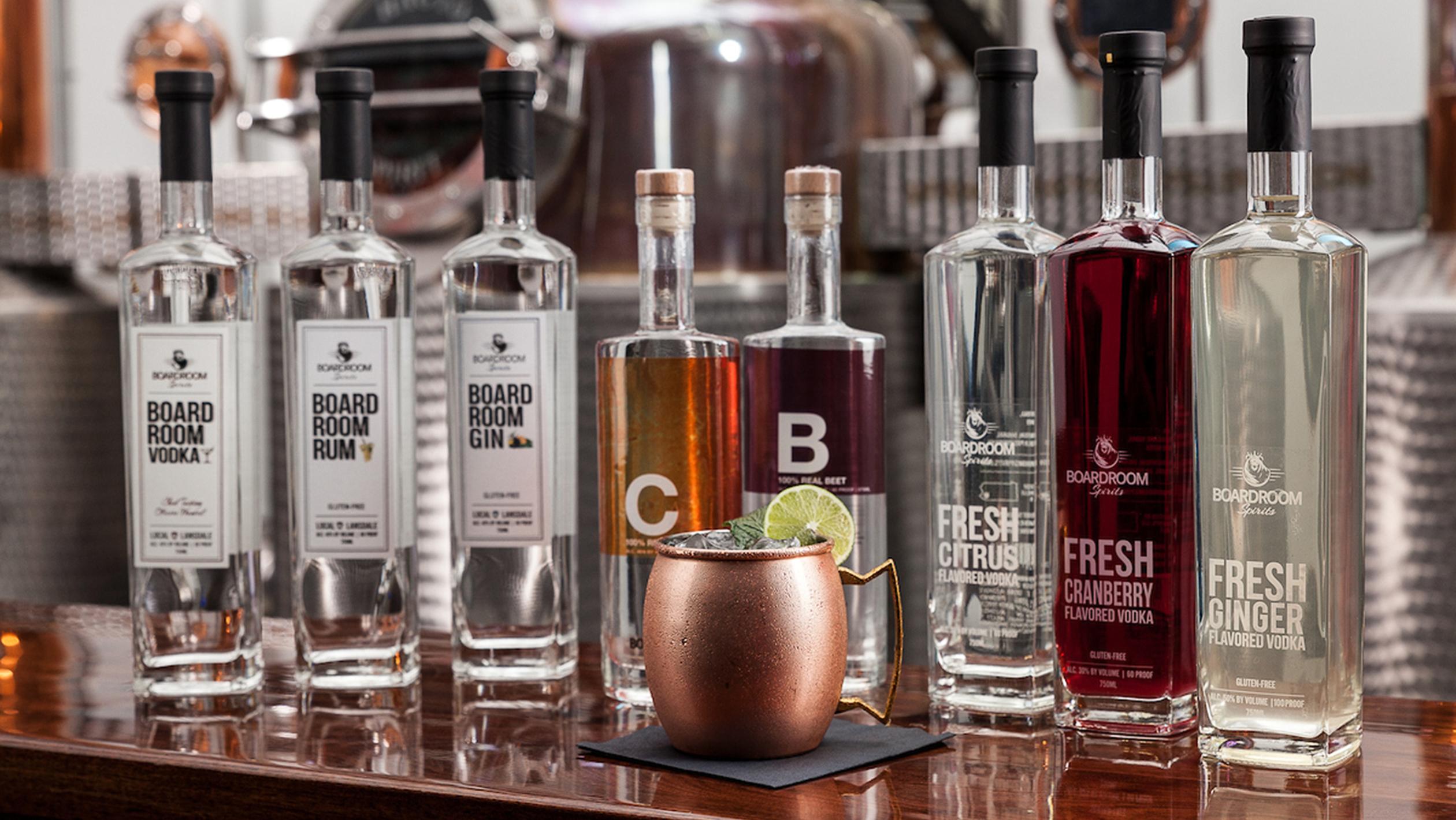 Bottles of Boardroom Spirits
