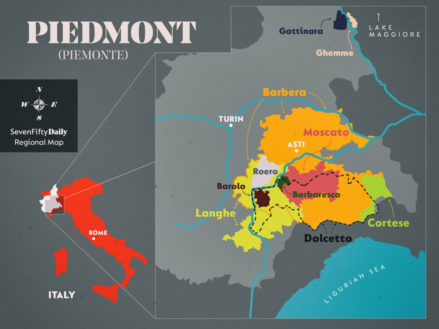 Map of Piedmont, Italy with highlighted wine regions
