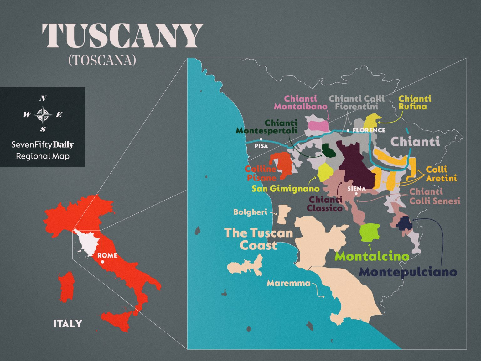 Map of Tuscany, Italy, with wine regions highlighted