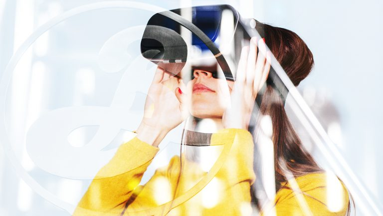 A woman experiencing virtual reality at a brewery