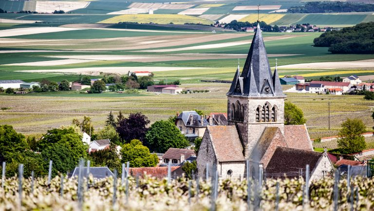 Aerial view of a church and vineyards in Champagne France