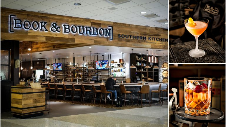 Airport bar book and bourbon