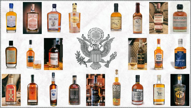 United States seal surrounded by a collage of whiskey bottles