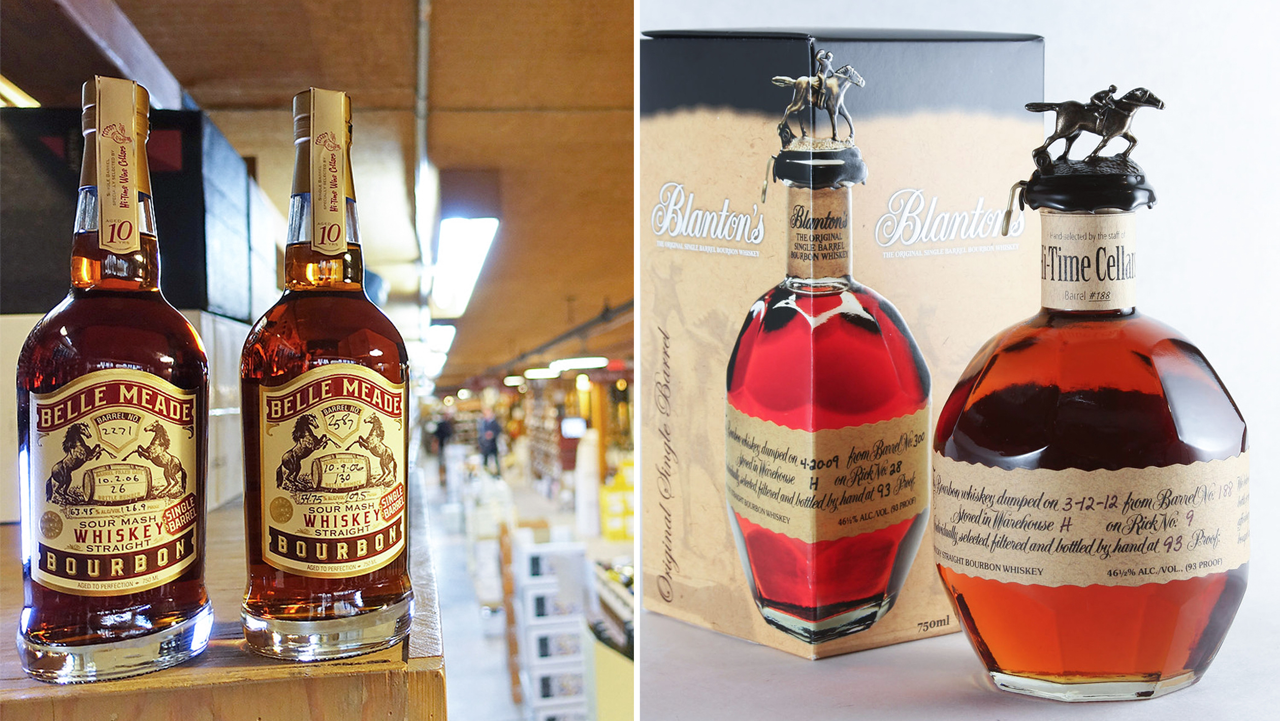 Collage of private label liquor bottles