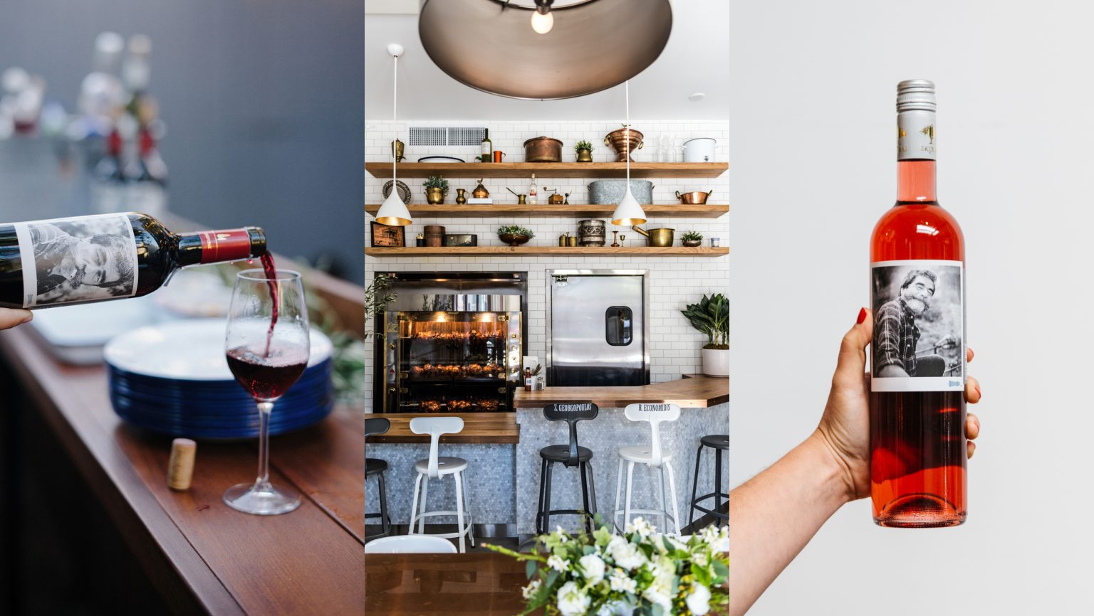 collage of fa kitchen and a bottle wine