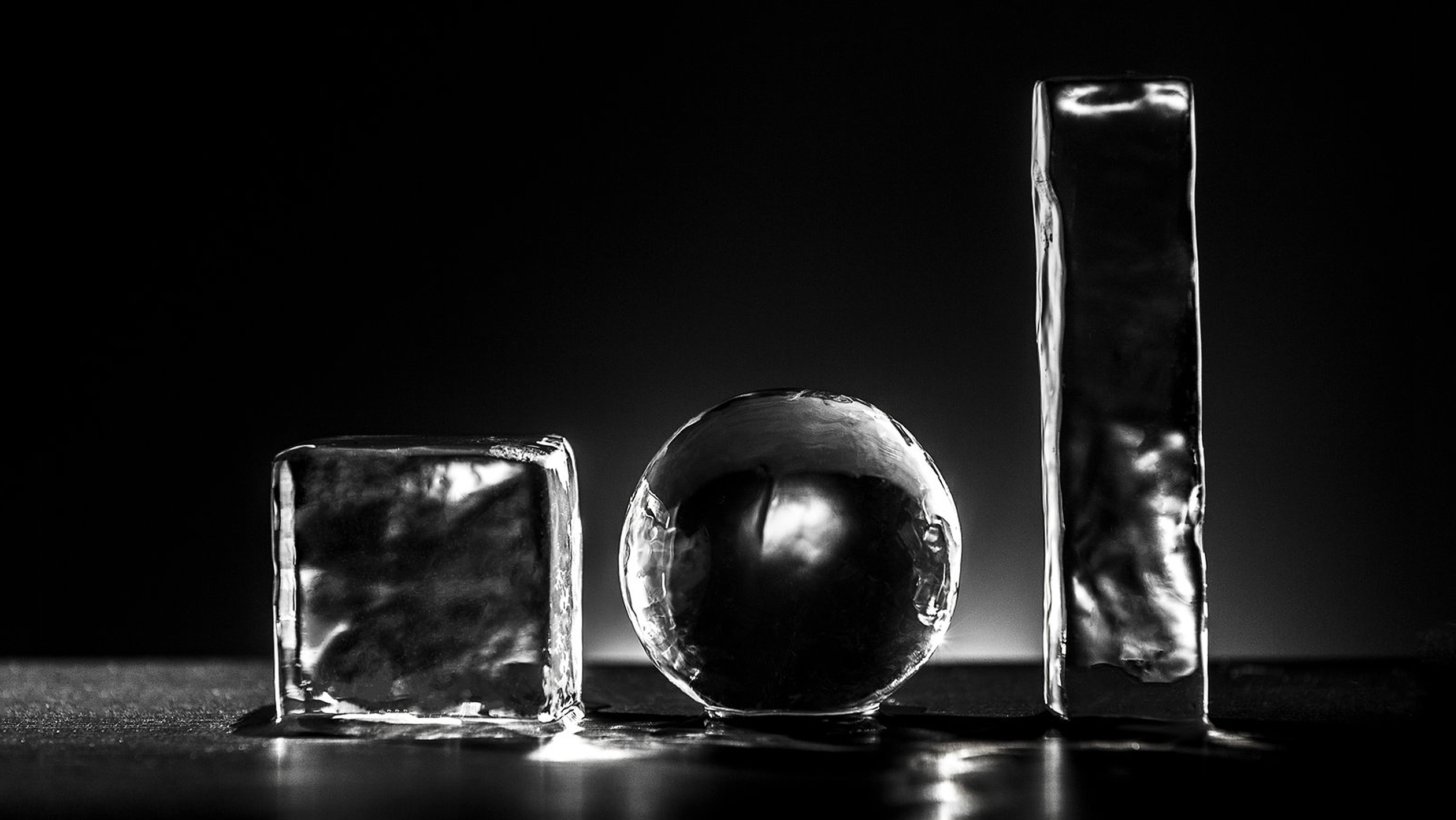 ice cubes in different shapes and sizes