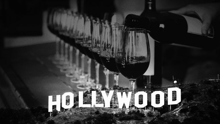 Hollywood Sign and wine glasses