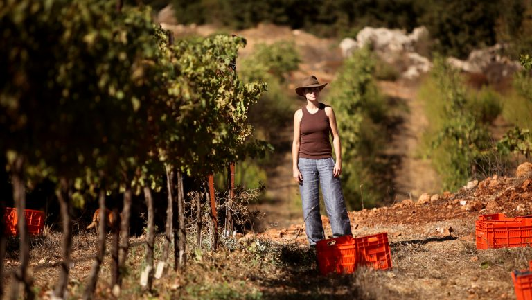 Winemaker Roni Saslove in a vineyard