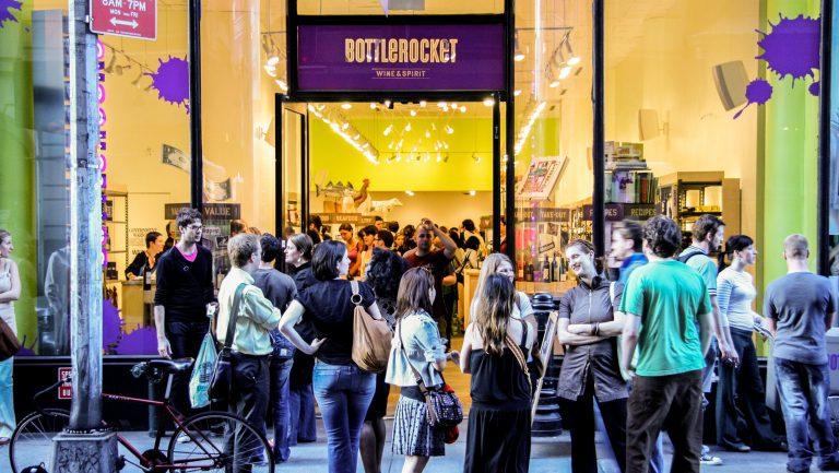 Millenials outside Bottlerocket storefront