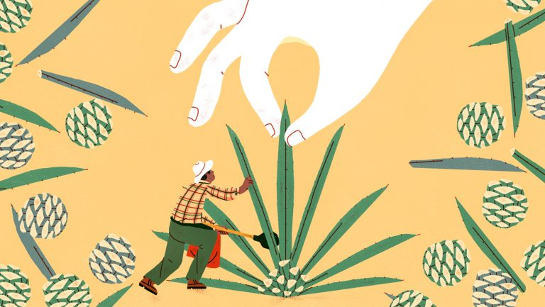 Illustration of people picking a plant