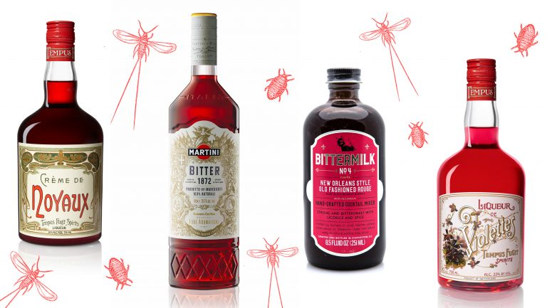 collage of alcohol brands that use bug-based coloring