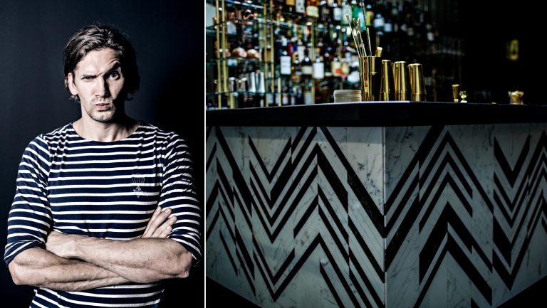 Photo collage of Nico de Soto at a bar.