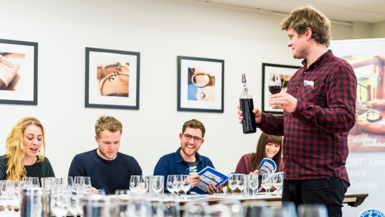 Students taking a wine course