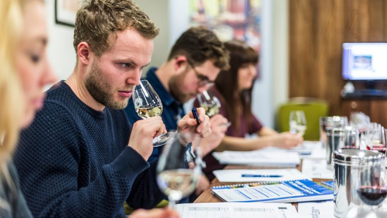 Students at a wine education course