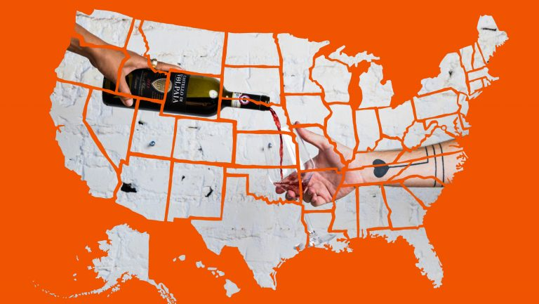 the United States with wine in the background