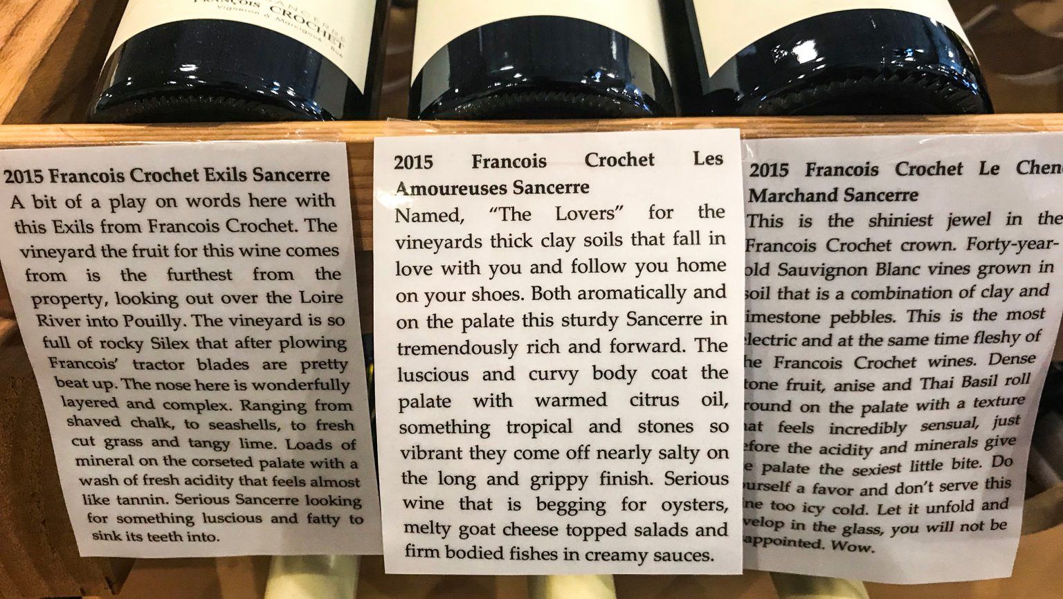 The Wine Country shelf talker