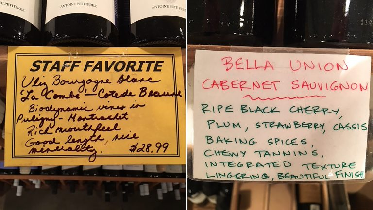 The Wine House shelf talker