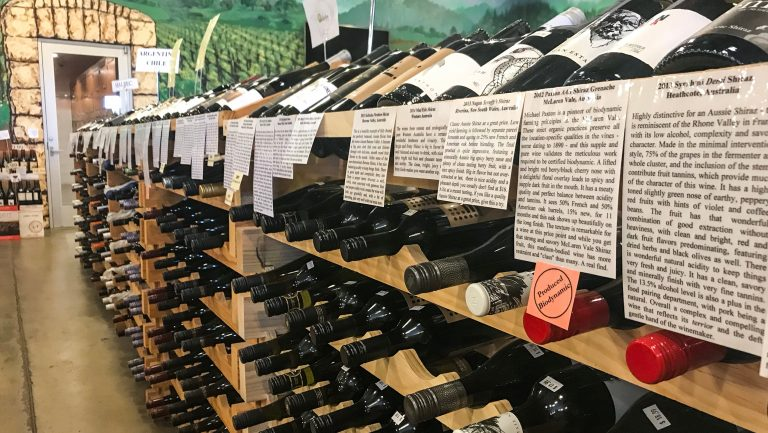 The Wine Country wine shelf