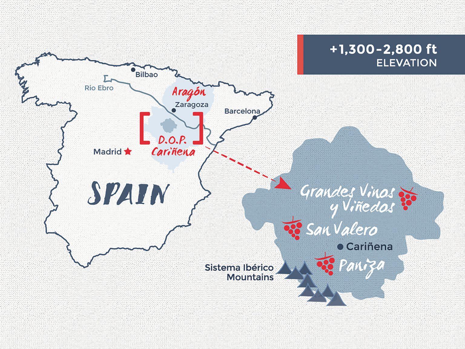 Cariñena wine map