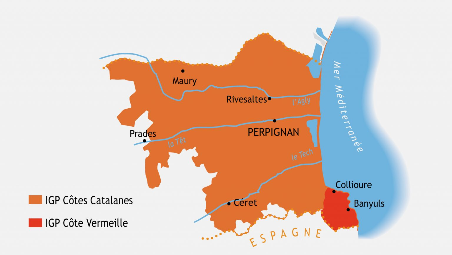 Wine region map of Roussillon