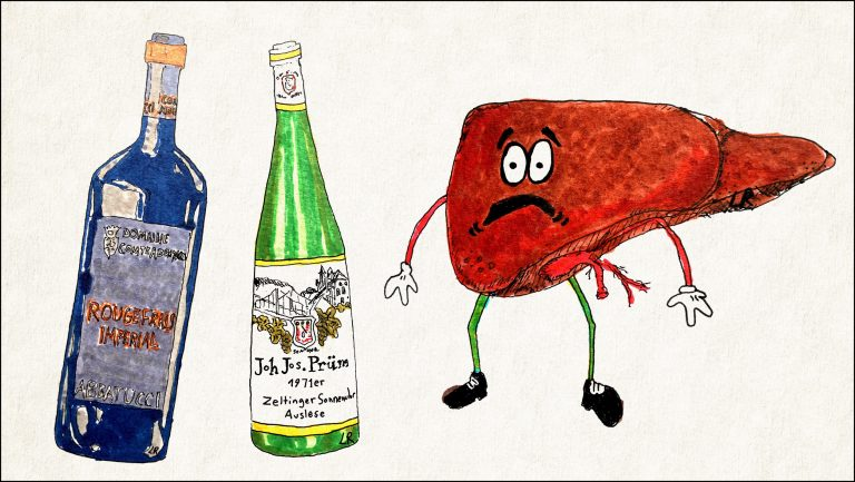 Cartoon of bottles and liver