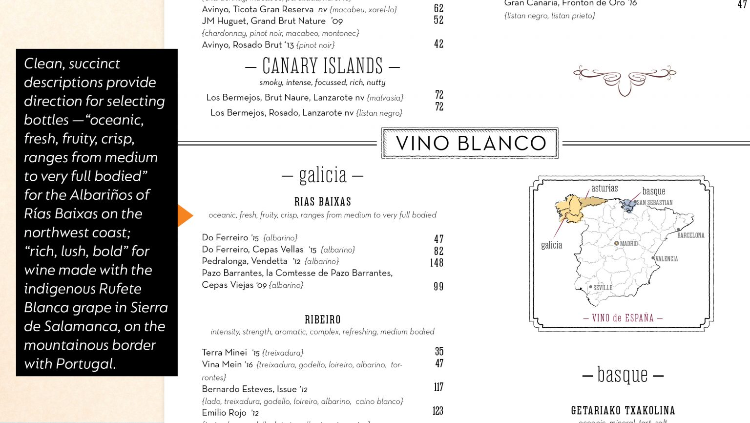 Mateo wine list