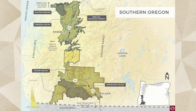 Oregon Wine Board map