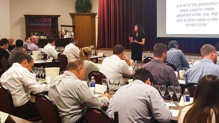 Marina Giordano teaching a sake class